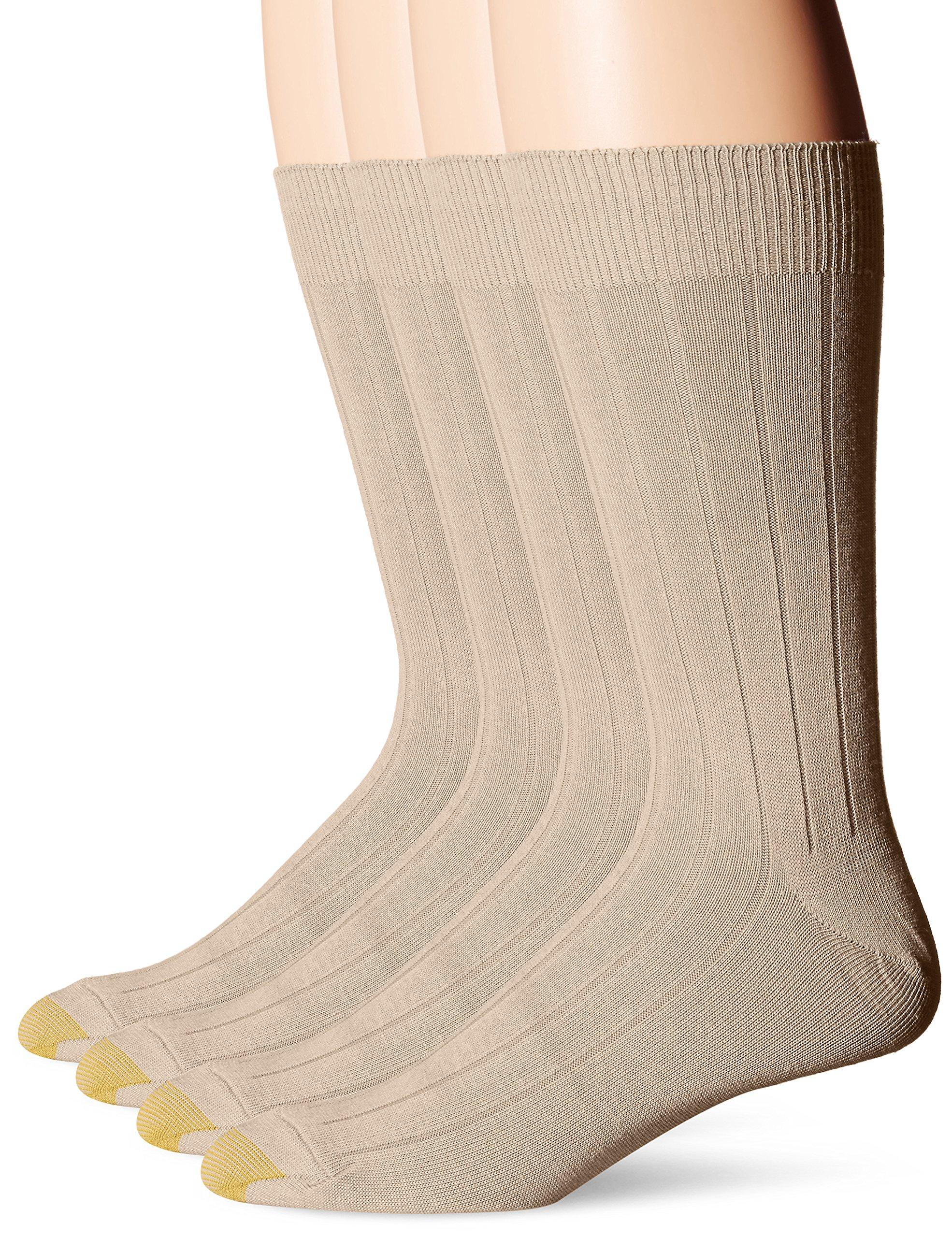 Gold Toe Men's Hampton Bonus Pack, Khaki/Tan/Black/Black, Sock Size:10-13/Shoe Size: 6-12
