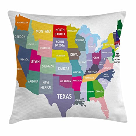 Amazon Com Ambesonne Map Throw Pillow Cushion Cover Usa Map With