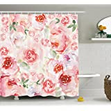 Ambesonne Watercolor Flower Decor Collection, Soft Colored Pale Faded Mix of Roses Vintage Style Romantic Dream Painting , Polyester Fabric Bathroom Shower Curtain Set with Hooks, Pink Green