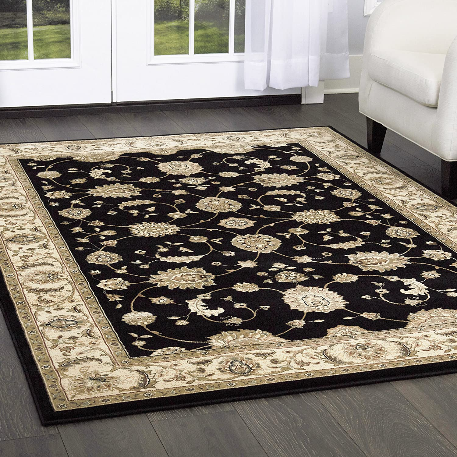 Amazon Com Triumph Fawn Area Rug 5 2 X7 6 Border Black Beige Furniture Decor