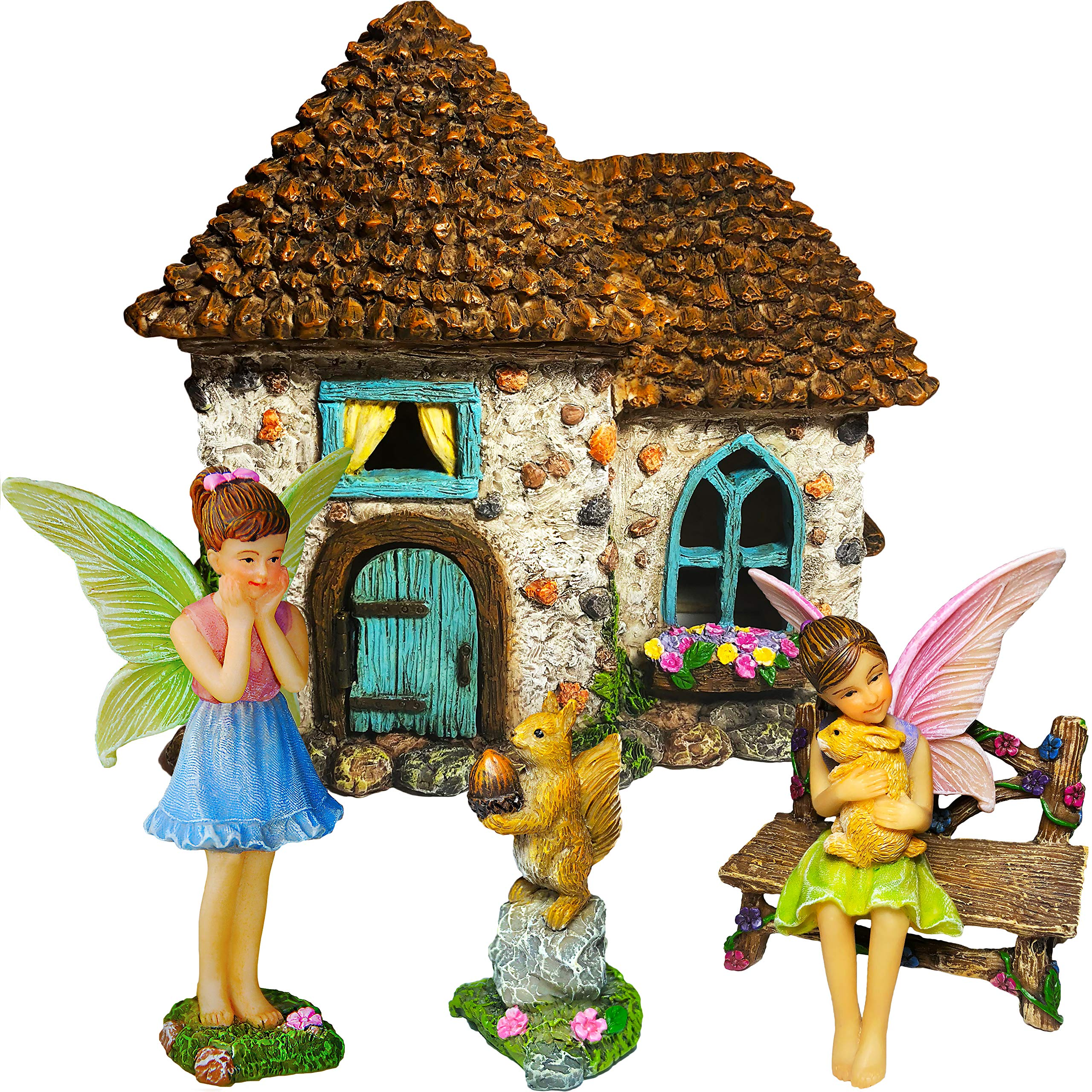 Mood Lab Fairy Garden Fairy House - Miniature Fairy Garden Figurines with Accessories - Set of 5 pcs - Hand Painted Set for Outdoor or House Decor