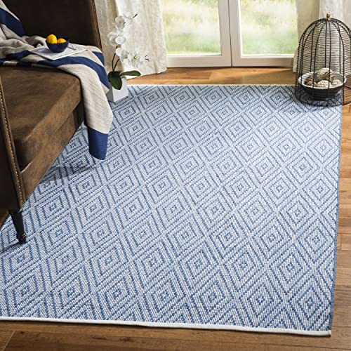 Safavieh Montauk Collection MTK811B Handmade Flatweave Blue and Ivory Cotton Area Rug 3 x 5