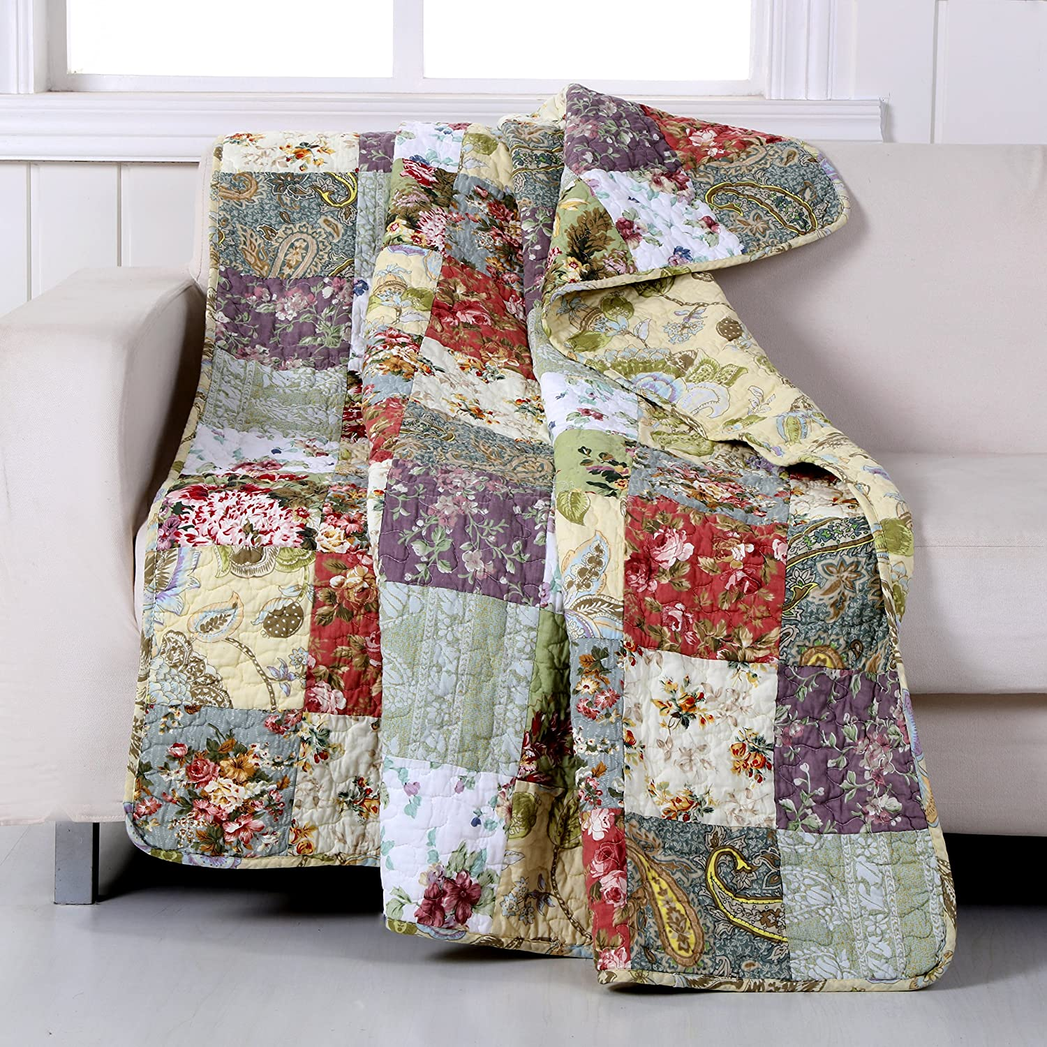 Greenland Home Blooming Prairie Quilted Patchwork Throw