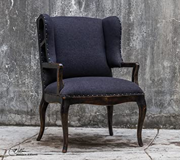 Bon Contemporary Black Exposed Wood Wing Chair   Plush Dark Frame