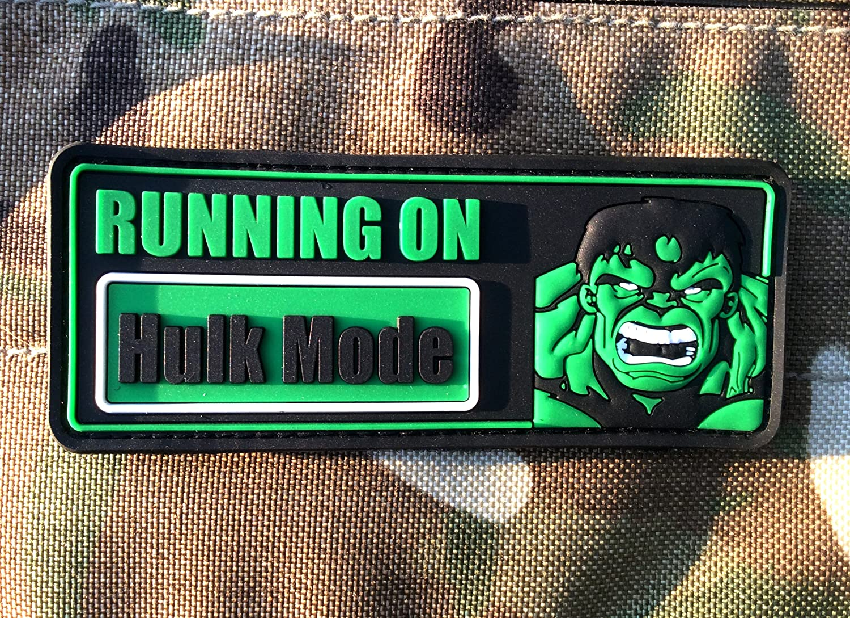 Running On Hulk Mode Airsoft Klett PVC Abzeichen