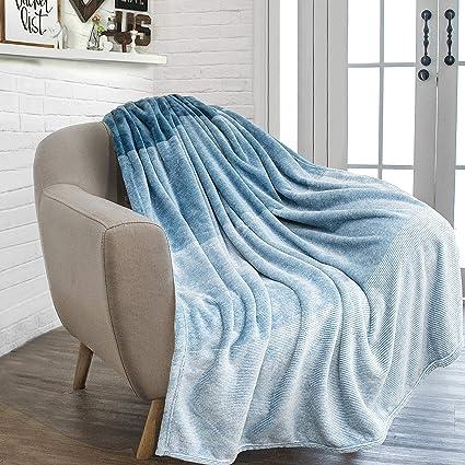 Genial PAVILIA Flannel Fleece Blue Turquoise Throw Blanket | Soft Cozy Warm Plush  Microfiber Lightweight | Gradient