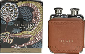 Ted Baker ATED458 Mens Brown Brouge Kiku Stainless Steel Double Hip Flask with Leather Effect Case