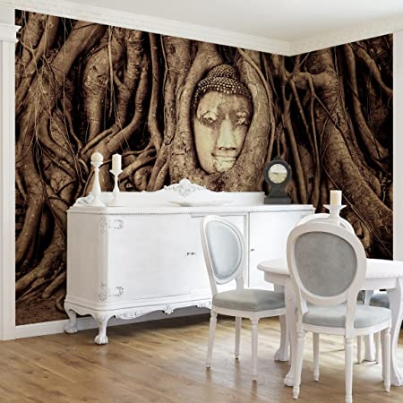Non-woven Wallpaper - Buddha in Ayutthaya lined by tree roots in ...