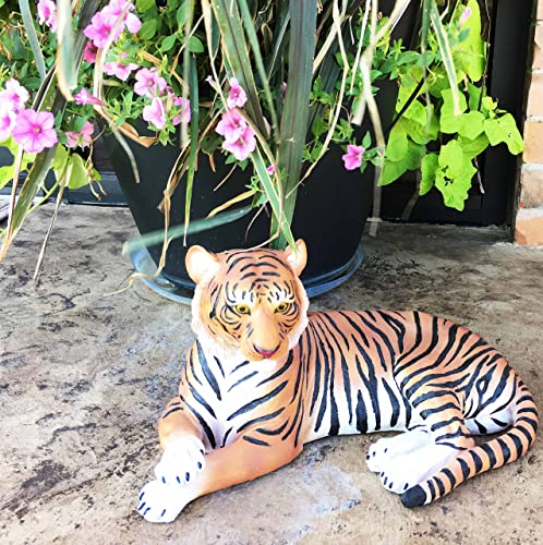 Large Raja The Royal Bengal Tiger Resting Gracefully 15.5″ Long Statue Jungle Apex Predator Home Garden Outdoor Patio Decor Figurine