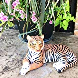 "Large Raja The Royal Bengal Tiger Resting Gracefully 15.5"" Long Statue Jungle Apex Predator Home Garden Outdoor Patio Decor Figurine"