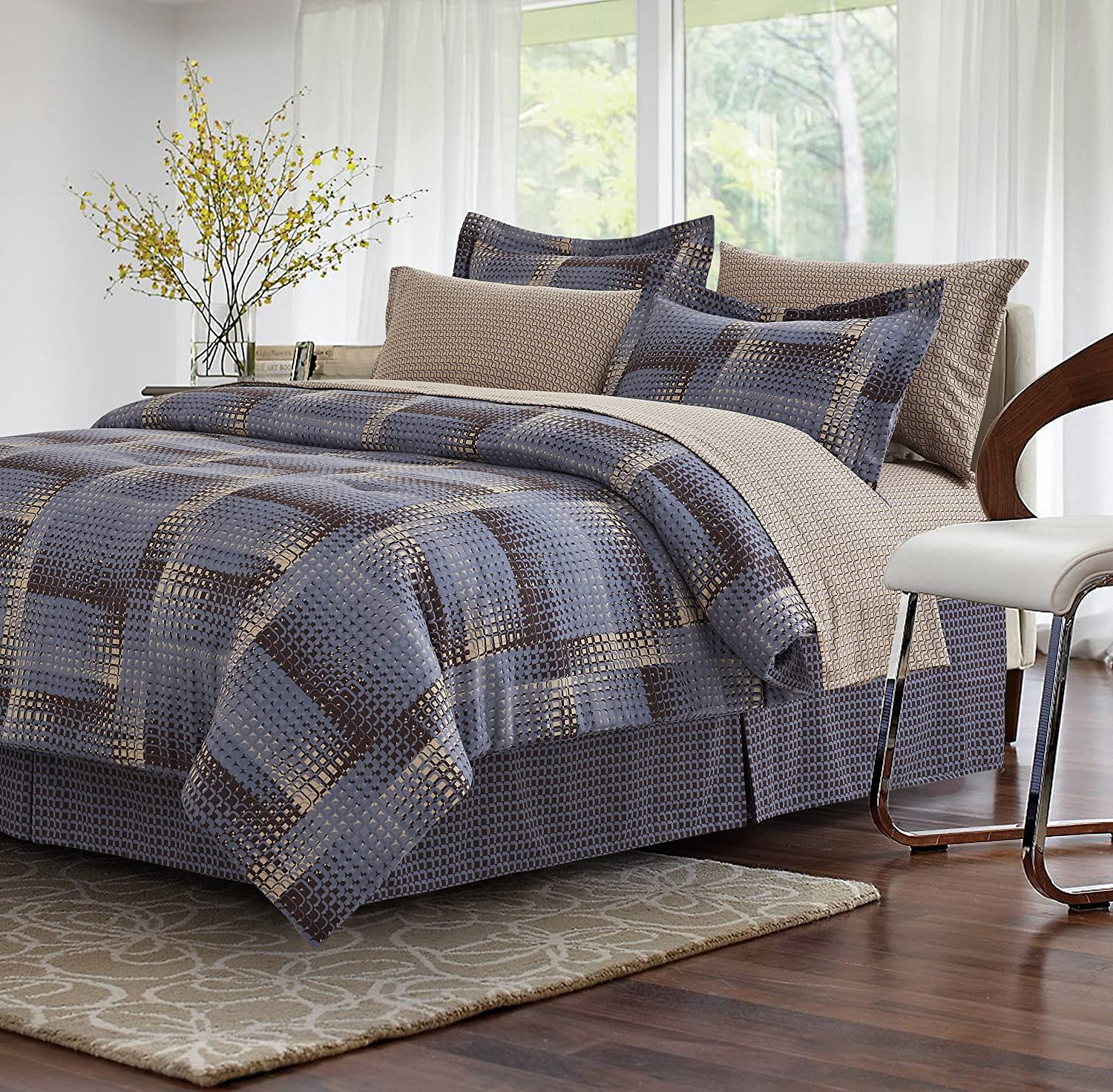 King Brown /& Grey Shadow Box Brown 8-Piece Bed-in-Bag