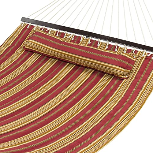 Best Choice Products Quilted Double Hammock w Detachable Pillow, Spreader Bar – Burgundy and Tan Stripe
