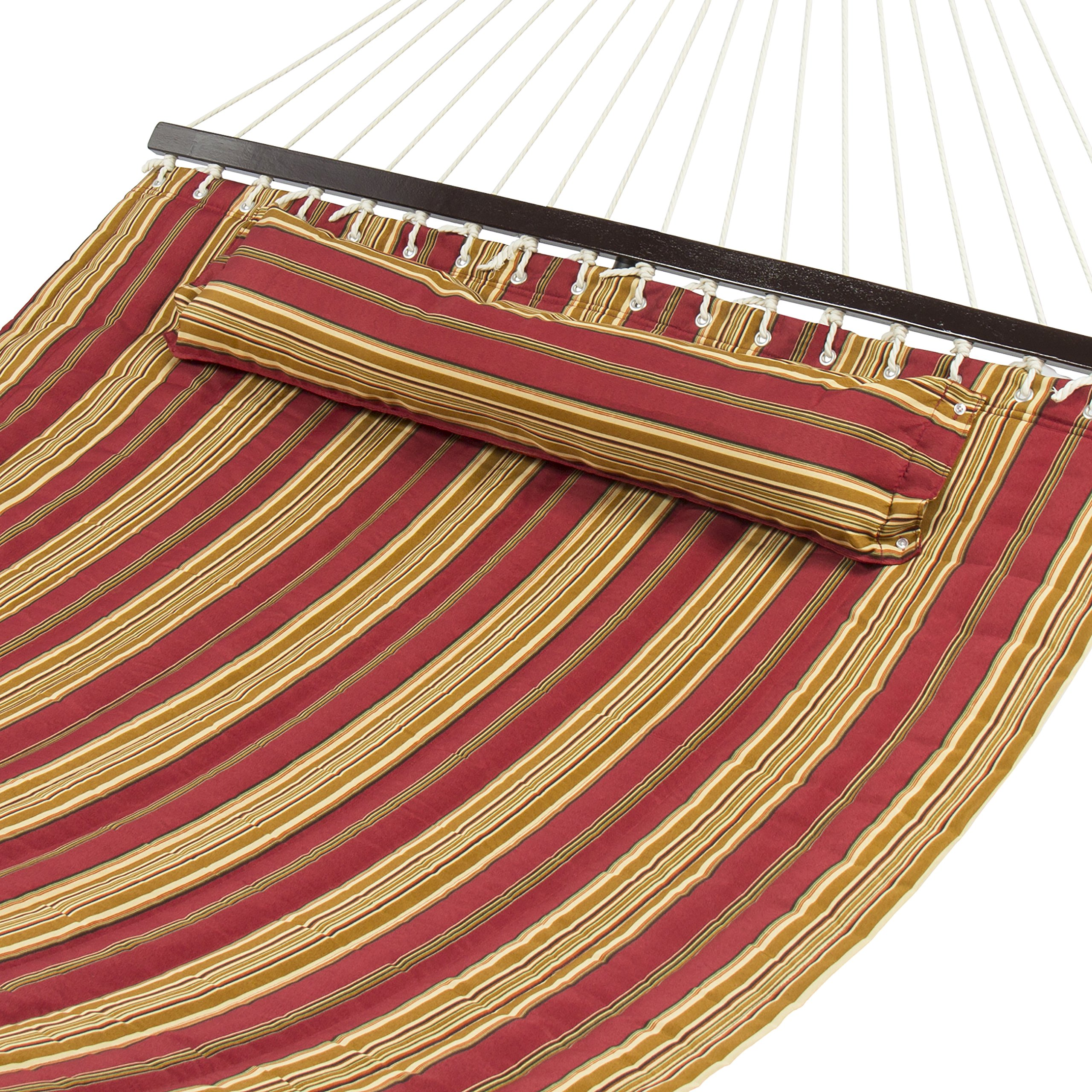 Best Choice Products Quilted Double Hammock w/Detachable Pillow, Spreader Bar - Burgundy and Tan Stripe