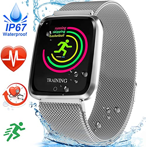 IP67 Waterproof Fitness Tracker, 1.5 Smart Watch with Heart Rate Blood Pressure Monitor for Men Women Activity Tracker Sport Watch with Weather Pedometer Calorie Camera Birthday Gifts