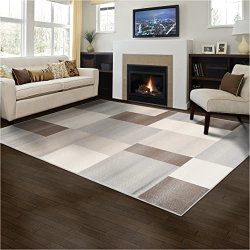 Superior Elegant Clifton Area Rug Rectangular Tile Modern Pattern, 8 X 10 , Multi-Colored