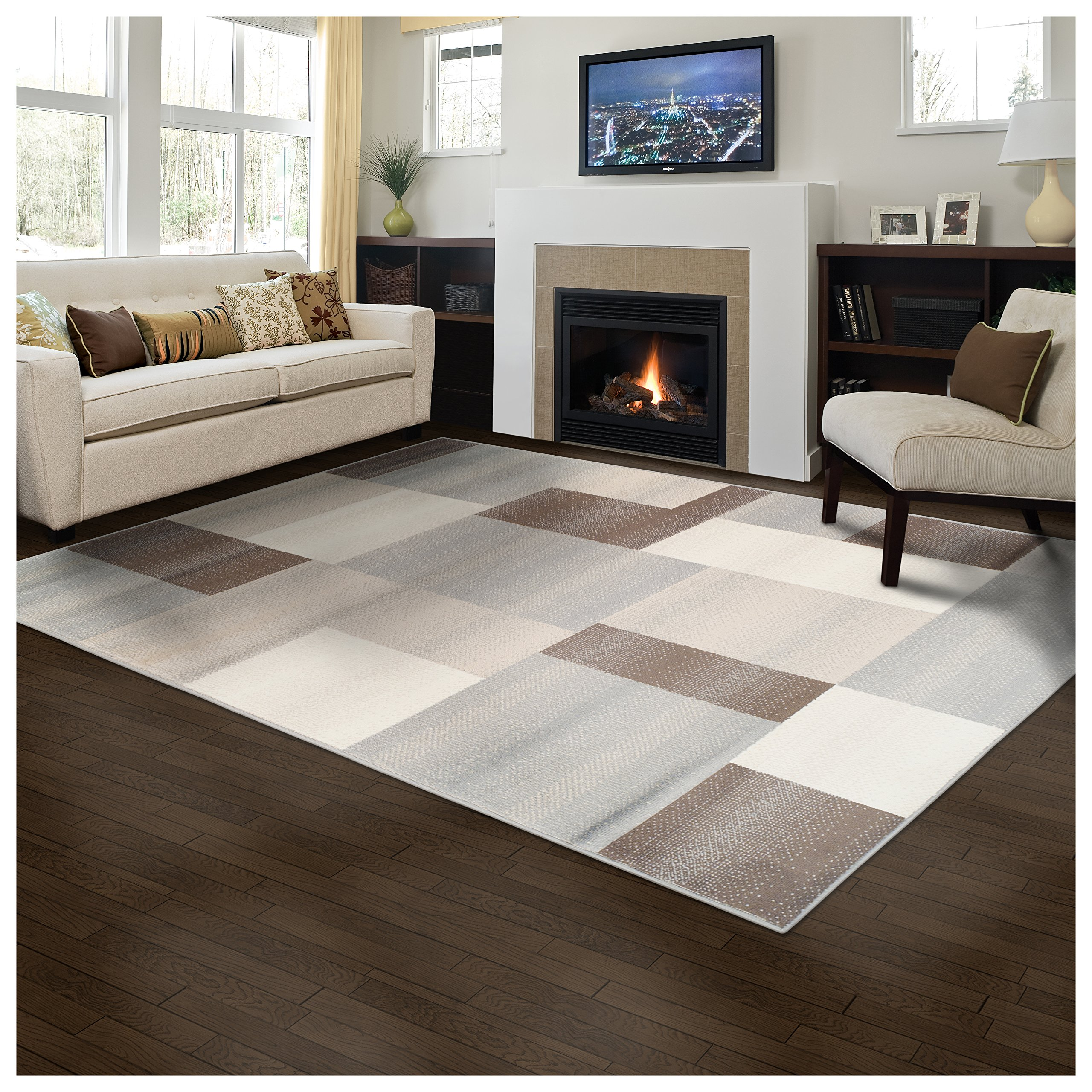 Superior Designer Clifton Collection Area Rug, 8mm Pile Height with Jute Backing, Contemporary Geometric Design, Anti-Static, Water-Repellent Rugs - Beige, 5' x 8' Rug