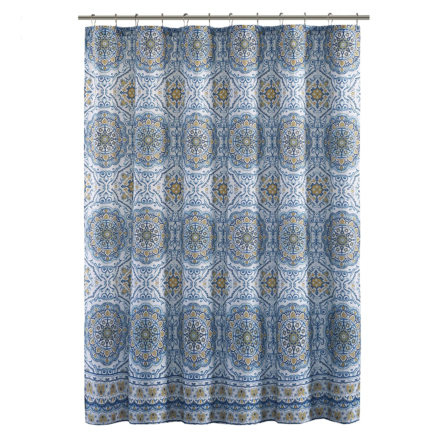 Home Essence Blue/White / Yellow Shower Curtain - Taya Washable Shower Curtains for Bathroom - 72x72 Bath Curtain