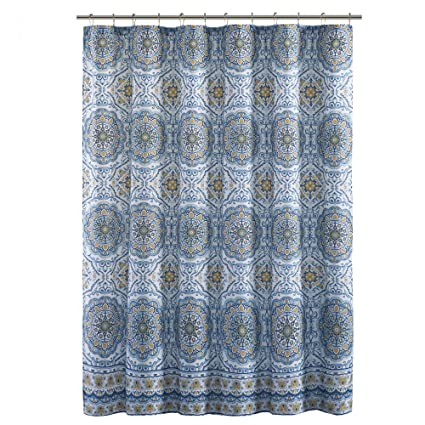 Home Essence Blue White Yellow Shower Curtain