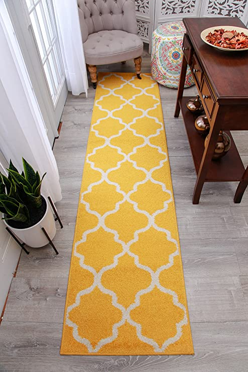 amazon com modern yellow morrocan trellis runners 2x8 hallway