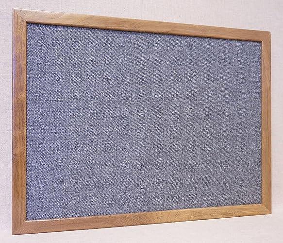Amazon.com: Large Framed Gray Fabric Bulletin Board - Grey Burlap ...
