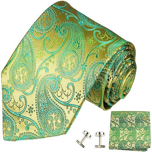 Corbatas 3 piezas verde oro Paisley seda corbata + Gemelos ...