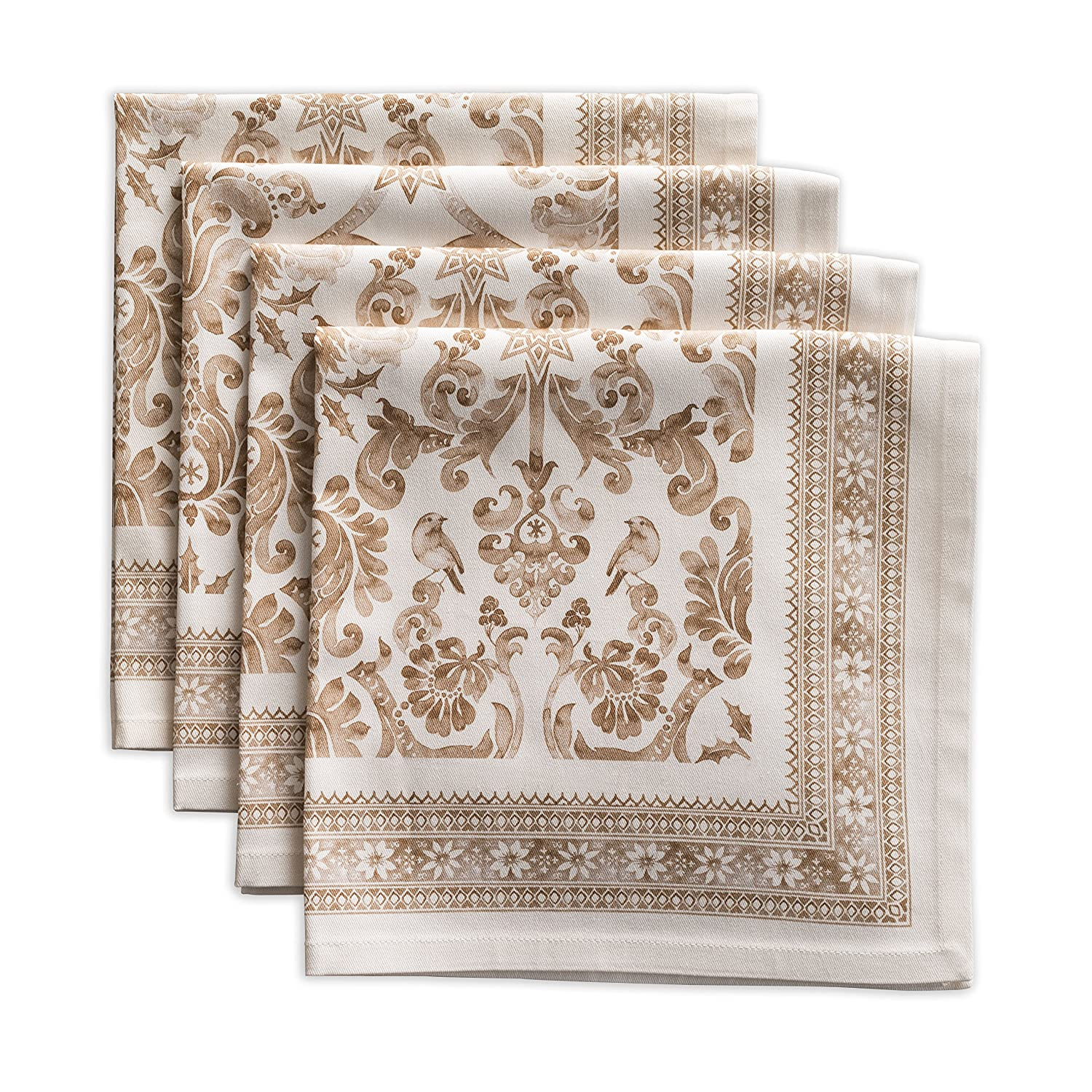 French Damask Print Cotton Christmas Dinner Napkins - ChristmasTablescapeDecor.com