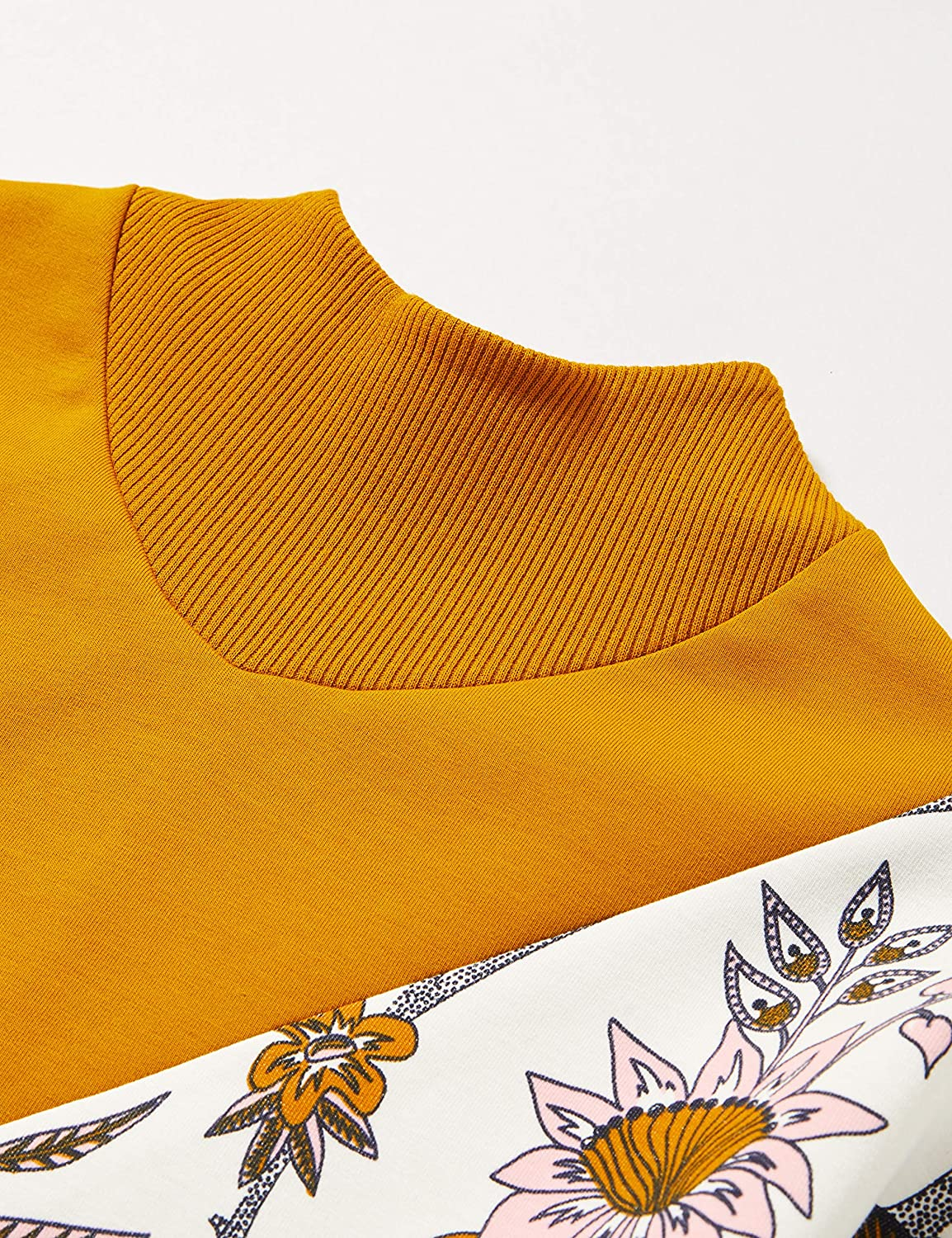 Scotch /& Soda Colour Block Sweat with Turtle Neck And Floral Print Panel Felpa Bambina