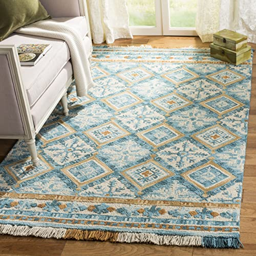 Safavieh Blossom Collection BLM421B Floral Vines Ivory and Teal Premium Wool Wool Area Rug 8' x 10'