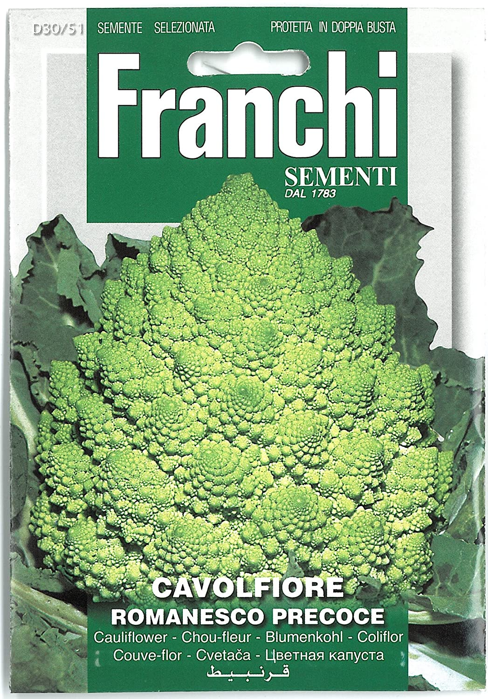Franchi Cauliflower Romanesco Precoce Seeds of Italy