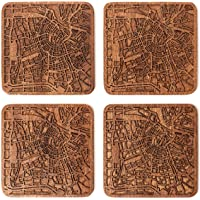 Coaster carte de la ville, Ensemble de 4, Sapele Coaster en bois avec la carte de la ville, Fait main