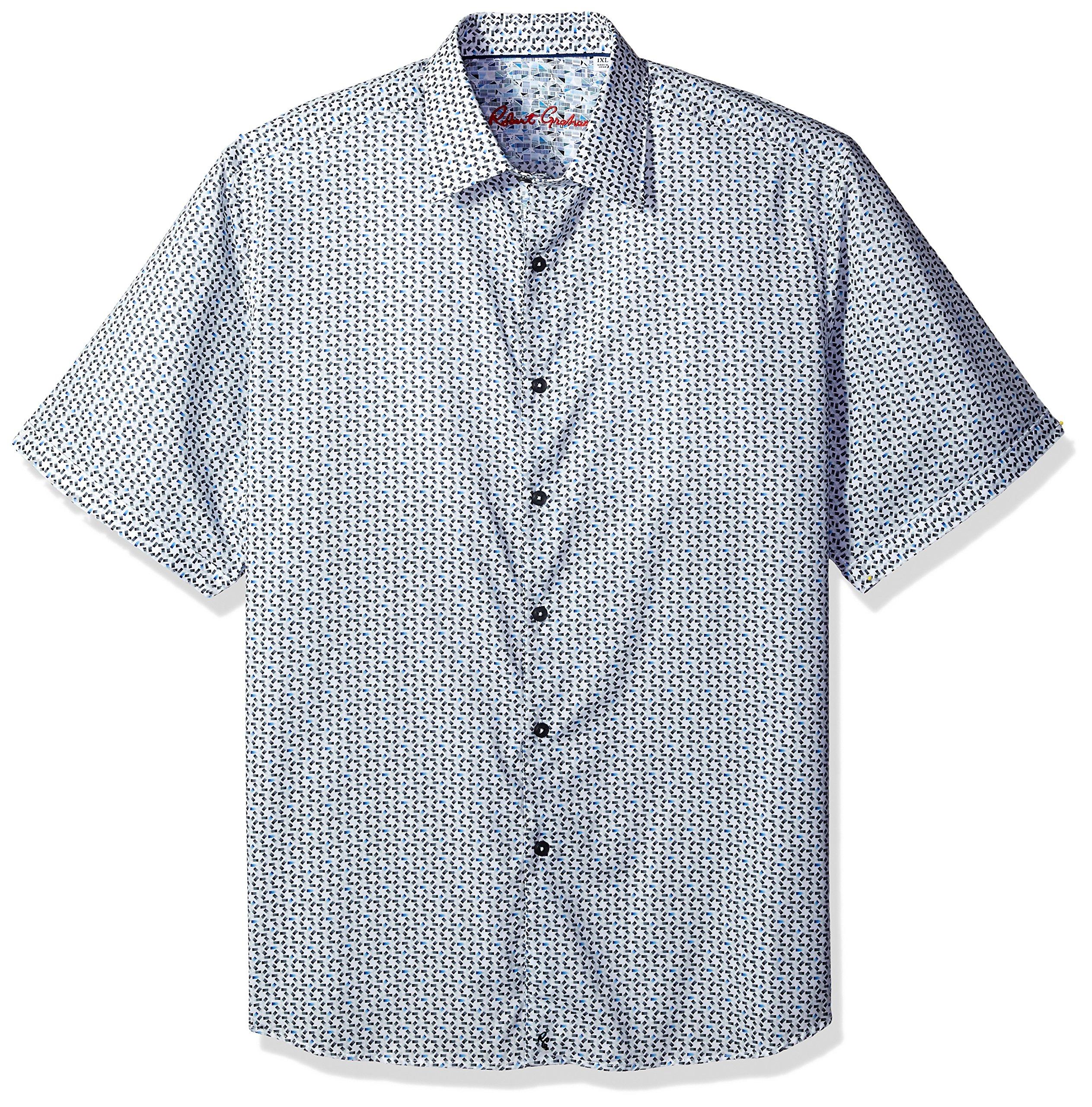 Robert Graham Men's Downey S/s Classic Fit Woven Shirt, White 3XL