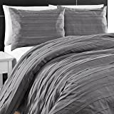 King & Queen Collection Modern 3 Piece Loft Stripe Style Comforter Set (King, Gray)