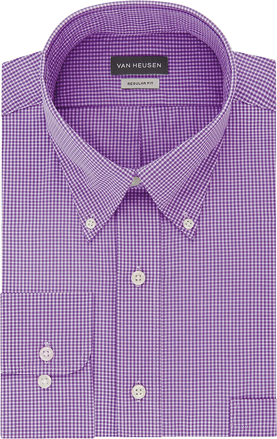 Van Heusen Mens Dress Shirts Regular Fit Gingham Button Down Collar at  Men's Clothing store