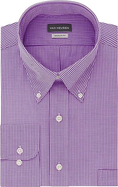 Van Heusen Mens Regular Fit Gingham Button Down Collar Dress Shirt Dress Shirt