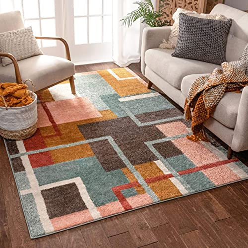 Well Woven Morningside Geometric Multi Blue Area Rug 8×11 7 10 x 10 6 Soft Plush Modern Abstract Boxes Lines Carpet