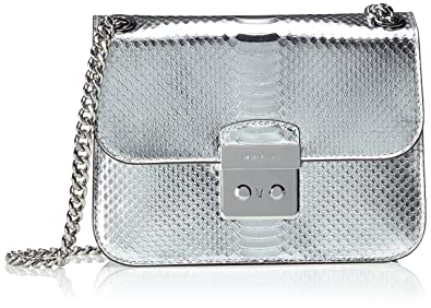 28a74919d Image Unavailable. Image not available for. Color: Michael Kors Womens  Sloan Editor Leather Metallic Crossbody Handbag Silver Small