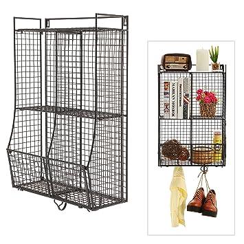 Wall Mounted / Collapsible Black Metal Wire Mesh Storage Basket Shelf  Organizer Rack W/ 2