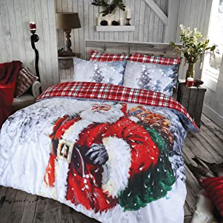Sleepdown Vintage Father Christmas Duvet Set Premium Polycotton Reversible Duvet Cover Bedding Set with Pillow Cases - (Double)
