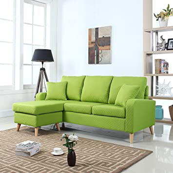 mid century modern linen fabric small space sectional sofa with reversible chaise green furniture spaces