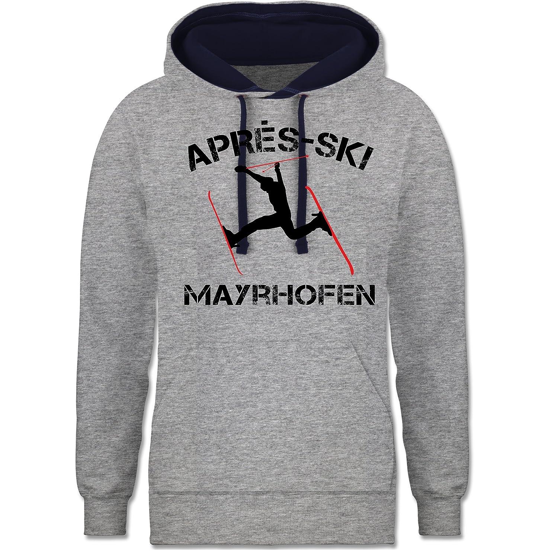 Après Ski - Apres Ski Mayrhofen - zweifarbiger Kapuzenpullover / Hoodie für Damen und Herren