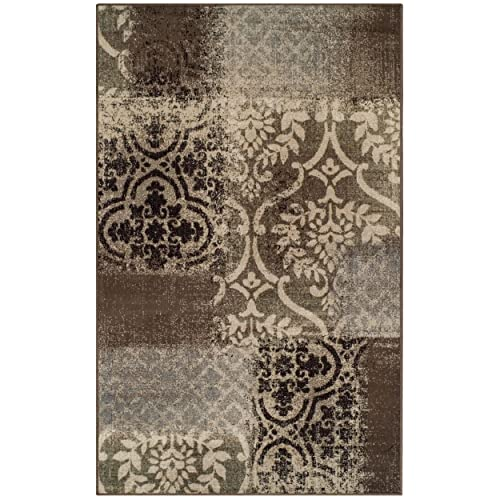 Superior Bristol Collection Area Rug, 8mm Pile Height with Jute Backing, Chic Geometric Damask Patchwork Design, Fashionable and Affordable Woven Rugs – 5 x 8 Rug, Ivory Light Blue