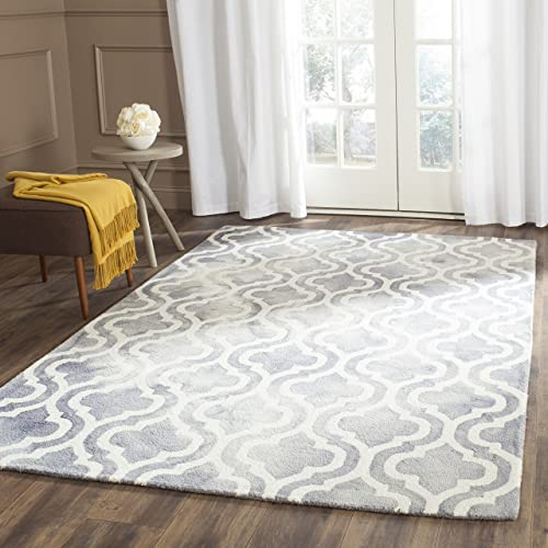 Safavieh Dip Dye Collection DDY537C Handmade Geometric Moroccan Watercolor Grey and Ivory Wool Area Rug 9 x 12