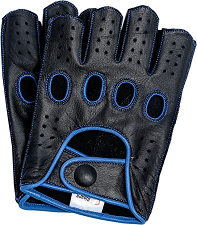 Riparo Guantes de Moto de conducci/ón de Dedo Medio sin Dedos cosidos en reversa de Cuero Genuino para Hombre X-Grande Azul Negro