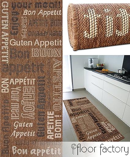 Tappeto cucina Bon Appetit marrone 80x200 cm - passatoia cucina a ...