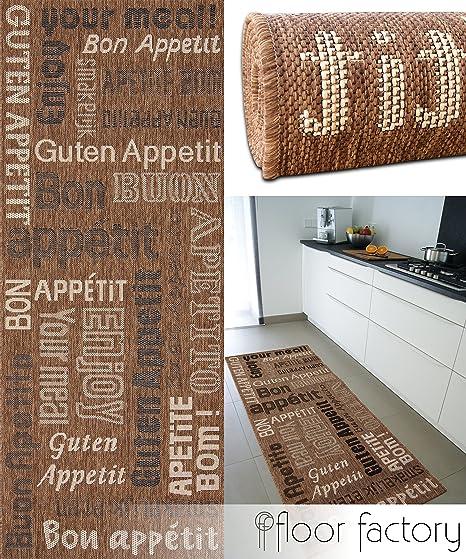 floor factory Tapis de Cuisine Bon Appetit Marron 80x200 cm - Tapis de  Couloir Pas Cher