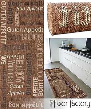 floor factory tapis de cuisine bon appetit marron 80x200 cm tapis de couloir pas cher - Tapis Couloir Pas Cher