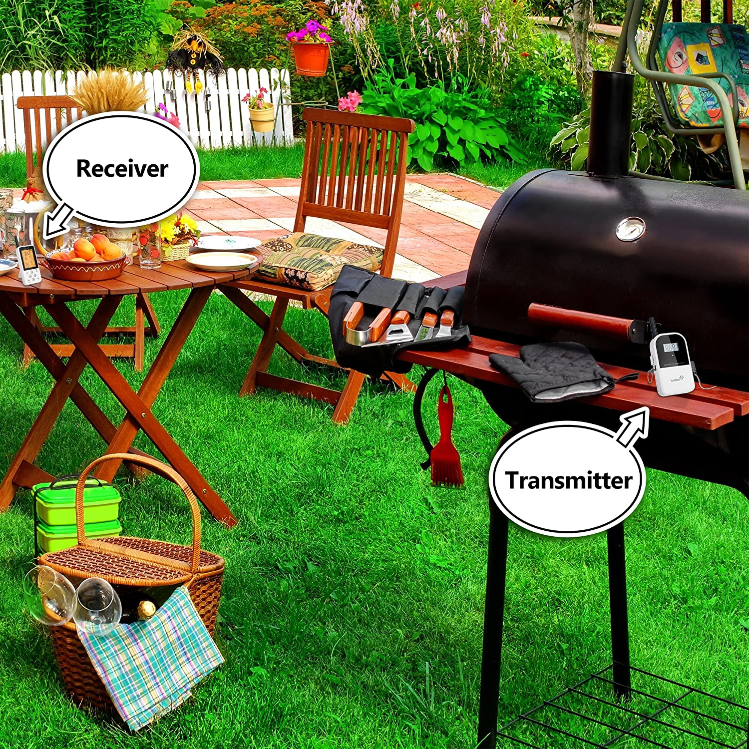 amazon com ivation long range wireless thermometer remote bbq