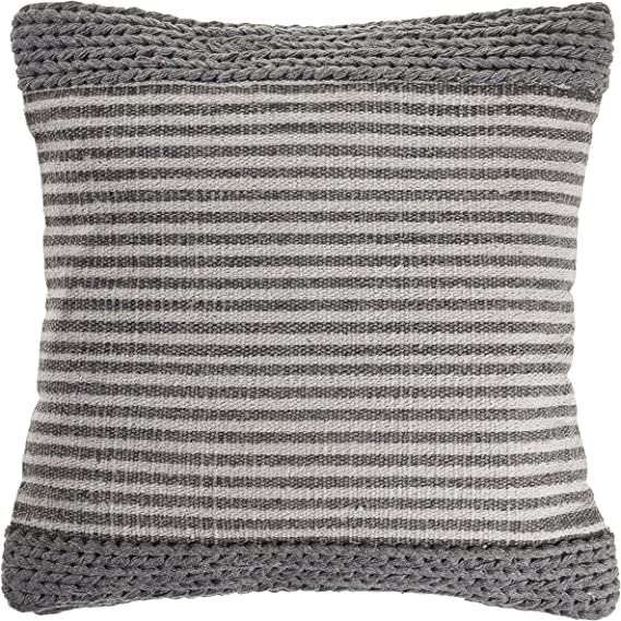 Lr Home Farmhouse Striped And Textured Throw Pillow Area Rug 20 X 20 Gray Ivory Home Kitchen