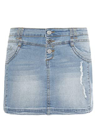 Sublevel Damen Mini-Jeansrock Stretch kurz im Used-Look mit Destroyed Parts  Blue XL 7fe9948fea
