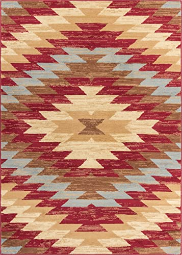 Well Woven Miami Alamo Southwestern Red Southwest Area Rug 8'2'' X 9'10″